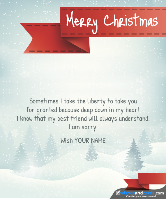 Christmas with red ribbon - Make your own card for Christmas